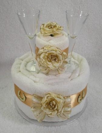 Two Tier Golden 50th Wedding Anniversary Gift Towel Cake