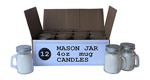 Set of 12 Bulk Wholesale Mini Mason Jar Mug Candles - 4 Ounce - Perfect For Weddings, Restaurants, Gifts, Baby Showers