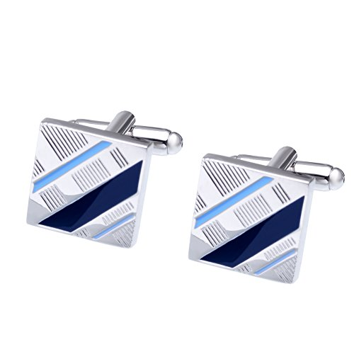 Salutto Mens Simple Series Luxury French Tuxedo Shirt Cufflinks with Gift Box Blue (Blue Cufflinks)
