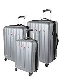 Swiss Gear Chrome Hardside 3 Piece Spinner Luggage Set, Silver