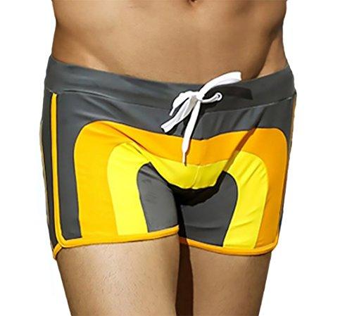 KINGDESON Men's Fashion Sports Lace-Up Swimming Swimwear Boxer Brief Shorts Trunks