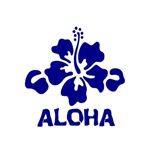 Aloha Hibiscus Flower Vinyl Decal Sticker | Cars Trucks Vans Walls Laptops Cups | Purple | 5.5 inches | -