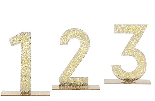 - Kate Aspen Acrylic Table Numbers (1-6), Gold Glitter