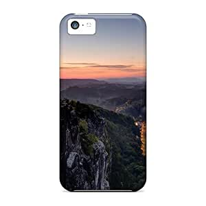 MMZ DIY PHONE CASENew Style Tpu 5c Protective Case Cover/ Iphone Case - Village On The River At Dusk