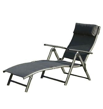Suntime Havana Foldable Reclining Sun Lounger   Black