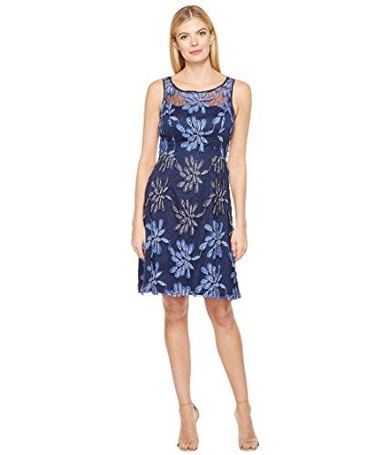 兵隊先のことを考えるコーラス[アドリアナパペル] Adrianna Papell レディース Sleeveless Fit and Flare Dress with Flowers ドレス Blue Multi 14 [並行輸入品]