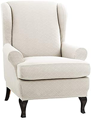 Chun Yi 2 Piece Rhombus Jacquard Wing Chair Cover Universal Wing Back Wingback Armchair Covers Chair With Arms Slipcovers Furniture Protector Cream