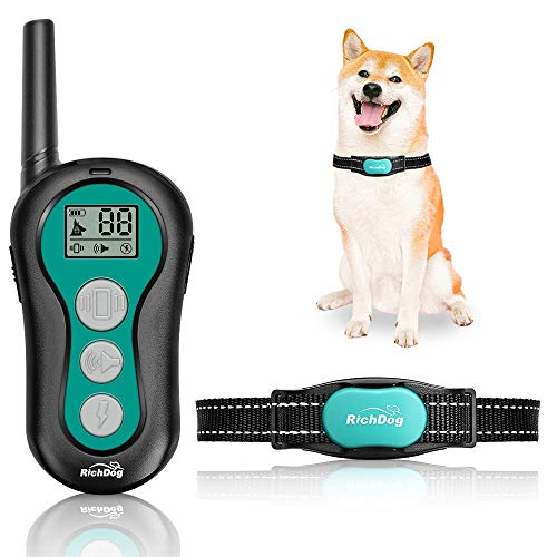 RICHDOG Dog Training Collar - Waterproof Dog Shock Collar with Remote Range Up to 1000ft, 1~99 Levels Beep, Vibration, Shock Modes, Rechargeable Dog Collar for Large Medium Small Dogs, Safe