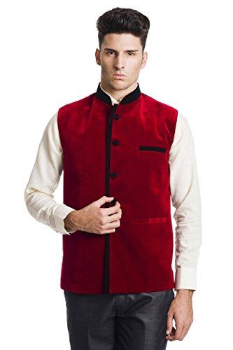 Wintage Men's Velvet Bandhgala Festive Red Nehru Jacket