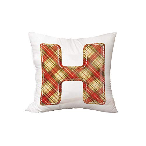 iPrint Polyester Throw Pillow Cushion,Letter H,Old Fashion Cloth with Stitches Checkered Plaid Typography Image Decorative,Vermilion Pale Yellow Brown,15.7x15.7Inches,for Sofa Bedroom Car Decorate