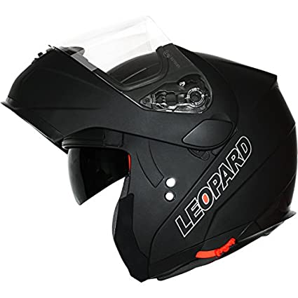 Leopard LEO-838 Casque Moto Modulable Pare Soleil Interne pour Scooter Chopper Casque de Moto Double Visi/ère Homme et Femme ECE Homologu/é 53-54cm #1 Noir Mat XS