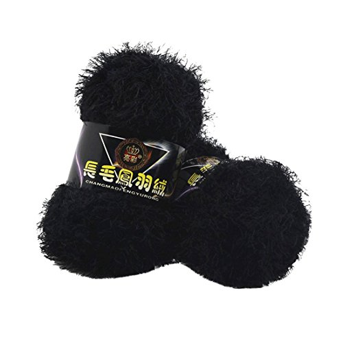 (Molyveva Assorted Colors Bonbons Eyelash Yarn Skeins - Perfect for Any Knitting and Crochet - Single Ball (Black))