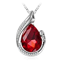 Wonvin Fashion 18K White Gold Plated Glass Crystal Jewelry Drop Pendant Necklace for Women Color Red