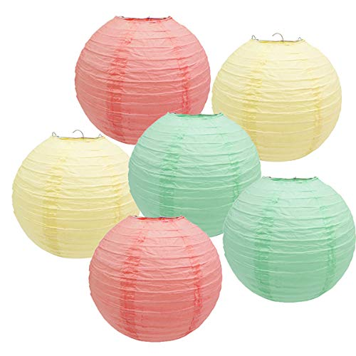 Furuix 6pcs Mixed Coral Mint Green Cream Paper Lantern Lamp Shades for Wedding Marquee Christening Baby Shower Hen Party Garland Decoration Favor ()