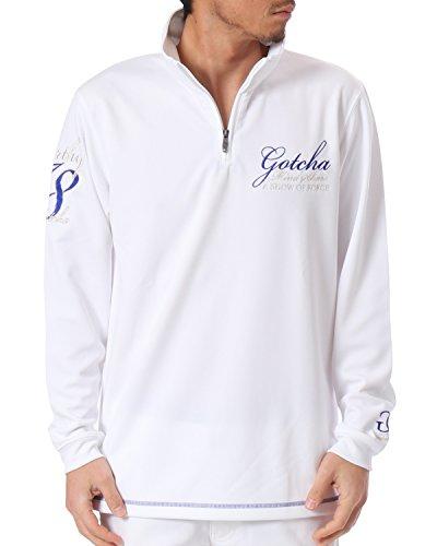 (ガッチャ ゴルフ) GOTCHA GOLF ポロシャツ 長袖 吸水速乾 ジャージー ハーフジップ ロング シャツ 181GG1201 ホワイト Sサイズ