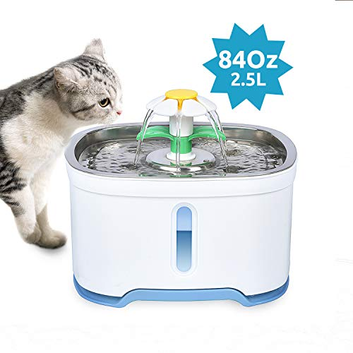 VinDox Cat Water Fountain, 84oz/2.5L Pet Water Fountain Stainless Steel for Cat and Dog,Auto Power Off Pump, Pet Fountain, Pet Dispenser with 3 Replacement Filters, Water Level Window with LED Light