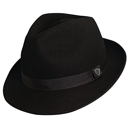 Dorfman Pacific Men's Wool Felt Snap Brim Hat, Black, Large (Felt Fedora Hats)