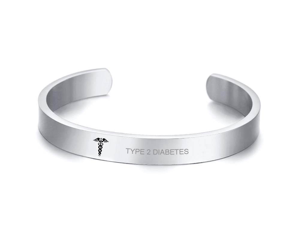 VNOX Type 2 Diabetes Medical Alert ID Stainless Steel Cuff Bangle Bracelet for Women Girl,8MM Width