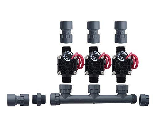 Hunter PGV101-MM 3 Zone Dura Manifold Valve Kit with Flow Control - Slip PGV101G (3 Zone)