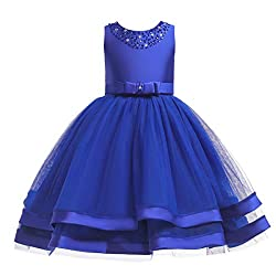 Girls Sequins Ruffles Lace Bridesmaid Gown