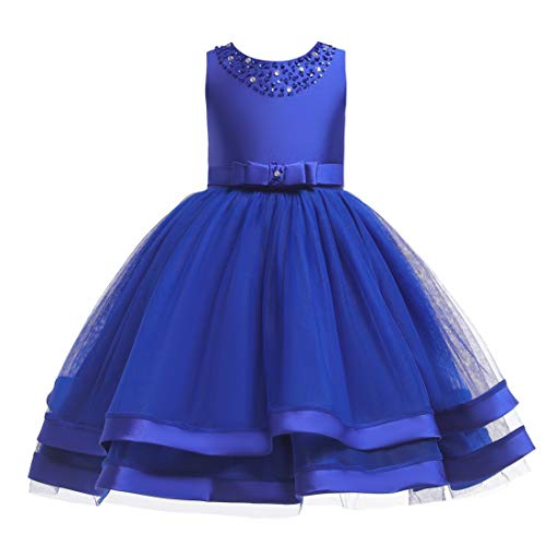 Glamulice Christmas Dress Girls Ruffles Vintage Embroidered Sequins Lace Dresses Bridesmaid Birthday Party Gown 2-16Y (7-8Y, Deep - Girls Blue Ruffle Dress