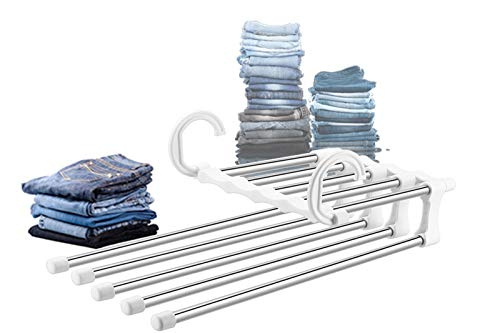 Stainless Steel Pants Hangers Jeans Clothes Organizer Folding Storage Rack Space Saver Storage Rack for Hanging by YUNAI