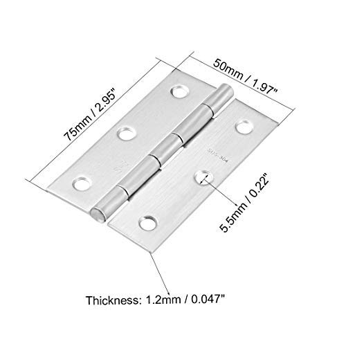 2.95inch Silver Hinge Door Closet Hinges Accessories Smooth Brushed Chrome 2 Pieces