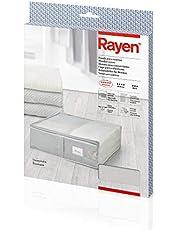 صندوق تخزين ملابس النوم Rayen 2363.11 | حقيبة قماش بسحاب للملابس مع فتحات تهوية قابلة للطي ومقاومة | 55 × 65 × 20 سم | رمادي فاتح/شفاف