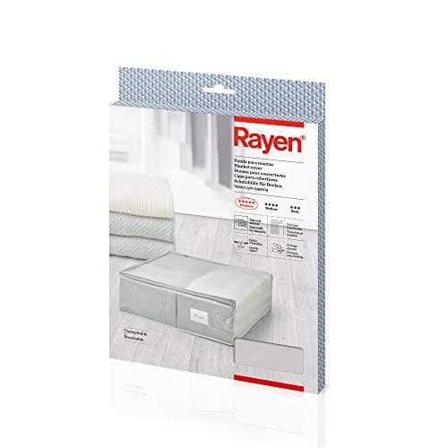 Rayen - Caja de almacenaje de ropa y mantas de cama Bolsa de tela para ropa con cremallera, rejilla transpirable, plegable y resistente 55 x 65 x 20 cm Gris Claro/Translucido