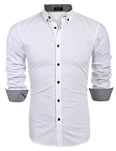 COOFANDY Men's Business Stylish Slim Fit Long Sleeve Casual Dress Shirt (L, White) by COOFANDY (Image #1)