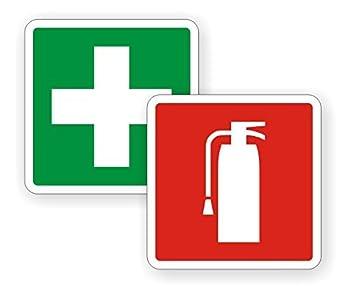 "2"" Fire Extinguisher / First Aid Kit Vinyl Decals / Stickers Pair"