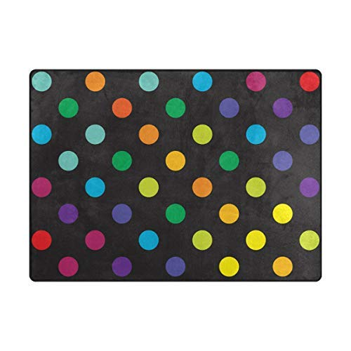 - ALAZA Area Rugs 80x58 Inches Retro Polka Dot Non-Skid Lightweight Rugs for Kids Playing Room Living Room Bedroom Floor Mats