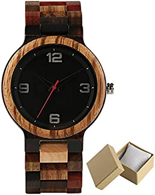 Handmade Red Maple Wooden Watch Men Minimalism Mix Colorful Wood Band Casual Watches Male Gifts Arrival 1 With Box