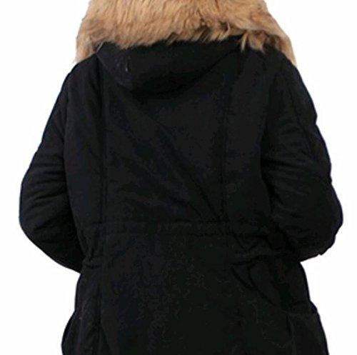 Manica Lunga Moda Nero Con Gocgt Collo A Donna Pelliccia In Cappotto tq1UE