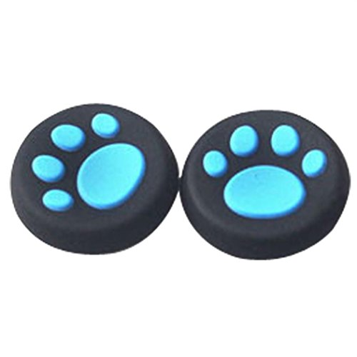 Price comparison product image DZT1968 1Pairs mini Cat Paw skidproof Silicone Gel Thumb Grips Caps For Nintendo Switch Controller (Blue)