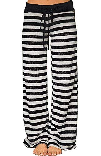 AMiERY Womens High Waisted Pants Soft Stretch Sleep Juniors Pants Pajamas Bottoms Wide Leg Pants Joggers Lounge Palazzo Pants Striped Black ()