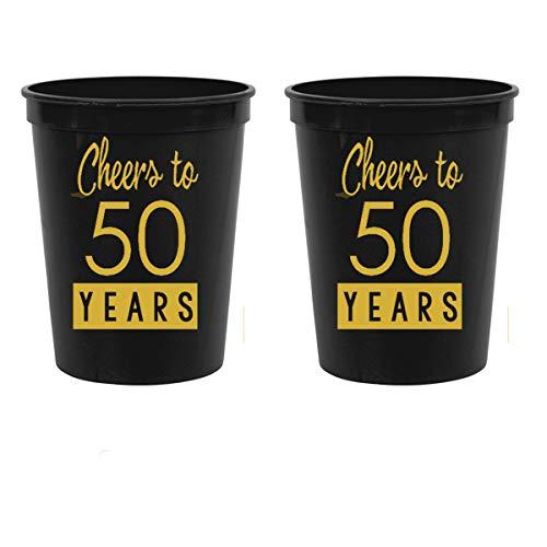 50th Birthday Black Stadium Plastic Cups - Cheers to 50 Years