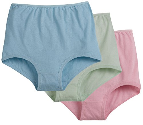 Women's 100% Cotton Cuff Leg Brief - 6 Pairs - Assorted Pastels - Size 11