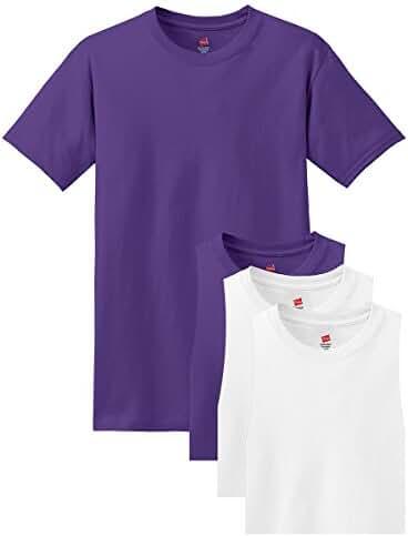 Hanes Men's Comfortsoft T-Shirt, 2 Purple / 2 White, L (Pack of 4)