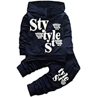 Woaills 18M-5T Toddler Baby Boy Style Letter Print Hood Tops Pattern Pants Clothes Set (3T, Navy)