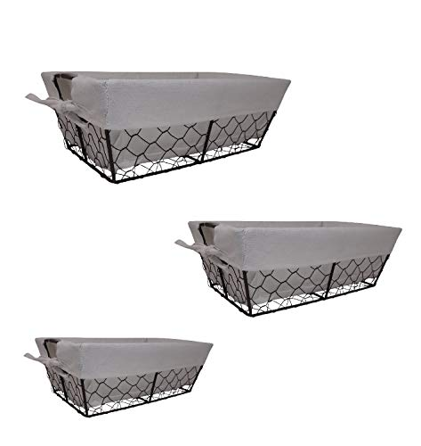 The Nifty Nook I Set of 3 I Farmhouse I Bright White I Wire Basket Liner Set I Home and Kitchen Storage (White)