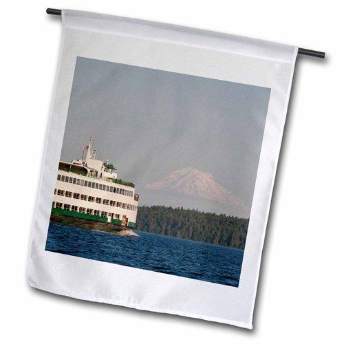 3dRose fl_148680_2 USA, Washington, Seattle, Ferry Boat in Puget Sound Us48 Tdr0961 Garden Flag, 18 by 27