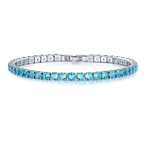 (UMODE Jewelry Simulated Aquamarine 0.25ct Round Blue Cubic Zirconia CZ Tennis Bracelet for Woman 7.5