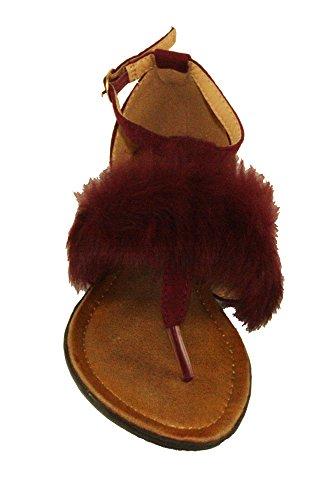 Forever Kvinners Vennlig-8 Imitert Semsket Justerbar Spenne Furry T-stropp Flat Thong Sandaler Burgunder