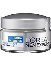 L 'Oréal Men Expert Hydra Intensieve vochtinbrengende crème, gezichtsverzorging voor gevoelige mannenhuid trekt snel en zonder resten in zonder vetten (50 ml)