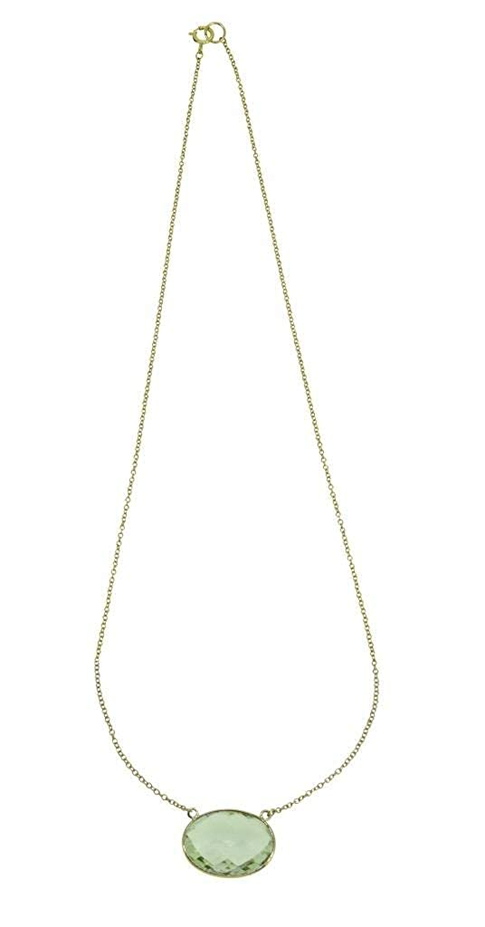 YoTreasure Green Amethyst Solid 10K Yellow Gold Chain Necklace 16