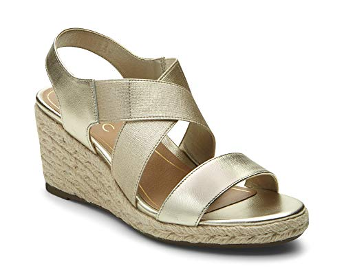 Vionic Women's Tulum Ainsleigh Backstrap Heels - Ladies Wedge Sandals with Concealed Orthotic Support - Champagne - Concealed Wedge