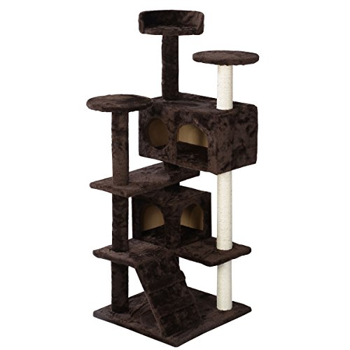Cat Tree Tower Condo Furniture - Brown by Tamsun by Tamsun