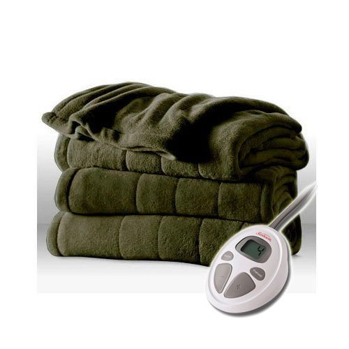 Sunbeam Channeled Velvet Plush Electric Heated Blanket Full Size Olive (Sunbeam Plush Blanket compare prices)
