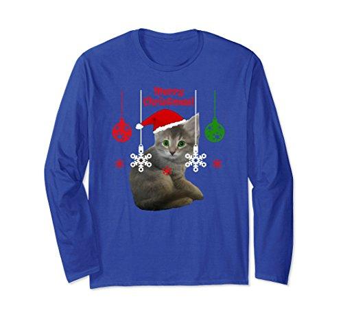 Kitten Long Sleeved T-shirt (Unisex Cute Kitten with Santa Hat - long sleeved tee Small Royal Blue)